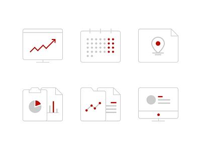 Statistics Icons statistic arrow folder monitor calendar pin graph page icons studio4 justas