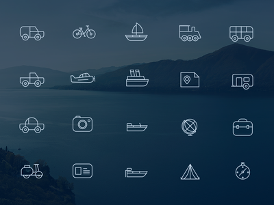 Travel Icons travel travel icons creative market justas studio4 ship plane boat scooter car camper bus