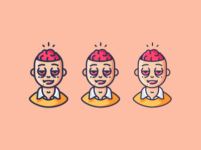 Drippy Brain smoking brains design outline icons character emoji icons outline icon illustration