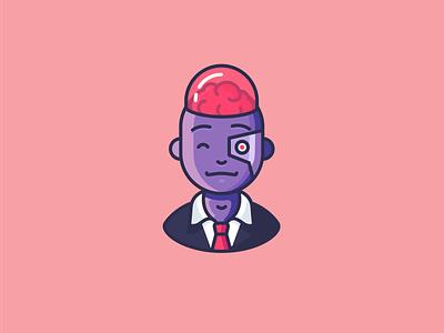 Cyborg robot brain cyborg outline icons character emoji icons outline icon illustration
