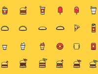 24 fast food icons