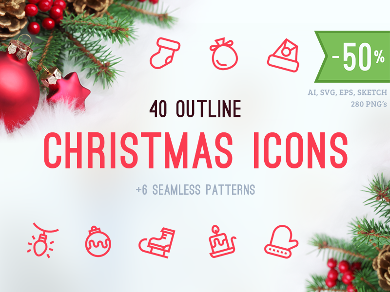 Christmas Icons / Patterns outline icons icons outline justas christmas christmas icons decorations lights santa candle