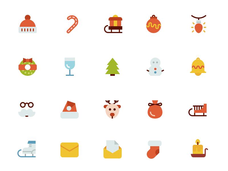 Flat Christmas Icons christmas icons christmas merry christmas flat icons icon bundle santa sled hat decorations justas sock candle