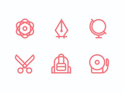 Education Set justas icons outline outline icons education school pen tool globe bell backpack scissors chemistry