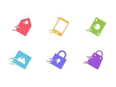 Wooshy! icons speed dynamic tag mobile money image lock shopping bag justas studio4
