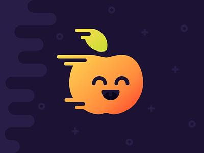 Wooshy Apple apple universe space speed fast happy smile leaf icon illustration justas studio4