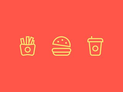 Fast Food fast food icons outline icons fast food icons junk food fries hamburger cola justas burger