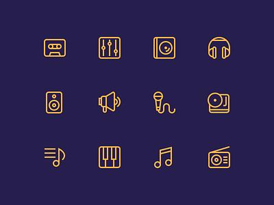 Music Icons music icons outline music icons outline icons icons casete headphones note piano radio vinyl megaphone mic
