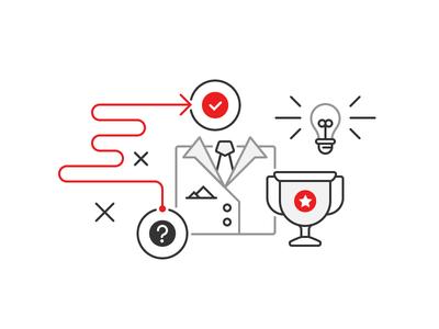 Leadership leadership suit problem solving new ideas light bulb trophy outline illustration illustration outline icon icons star question