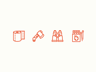Camping Icons camping camp camping icons outline icons icons toilet paper axe binoculars matches wild survival