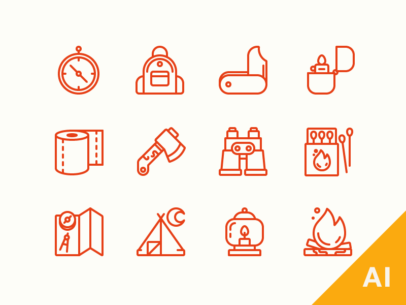 Camping Essentials Freebie! camping icons outline camping icons free icons free camping icons free outline camping icons camping freebie vector camping icons illustrator survival wild camping essentials
