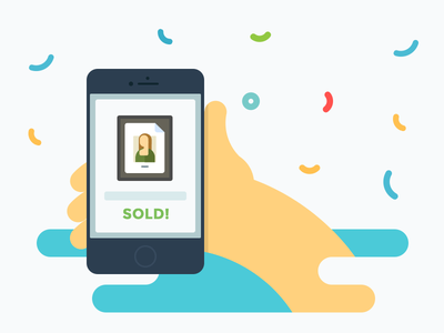 Congrats! Product Sold! sold sold illustration illustration flat illustration confetti mobile iphone hand checkout cashout fluid esellio