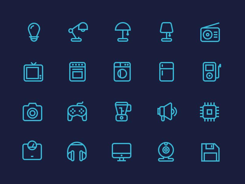 Outline Electronics Icons By Justas Galaburda