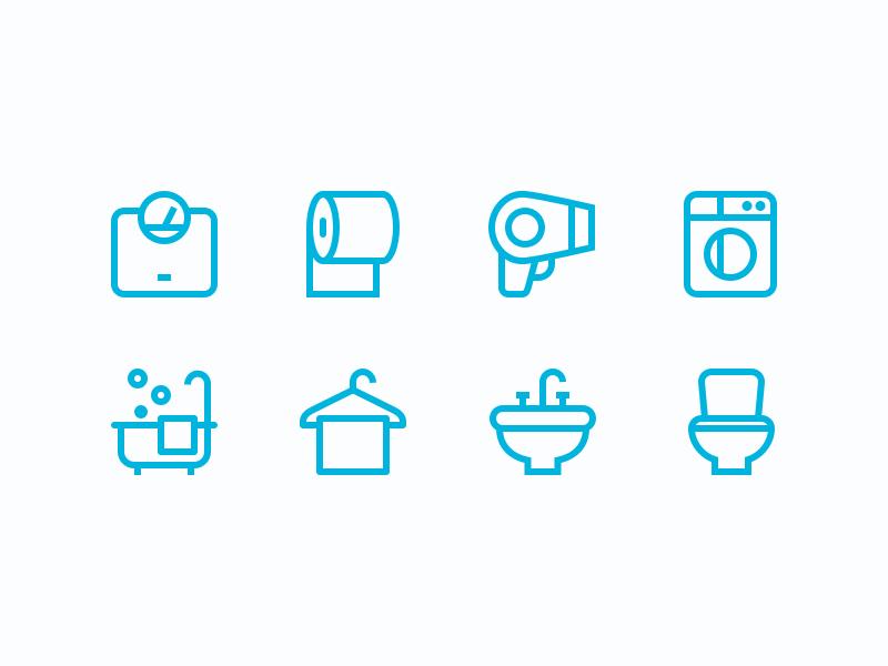 Bathroom Icons By Justas Galaburda