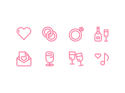 Weddings weddings icons outline icons wedding icons outline wedding icons heart rings champagne music rose mail glasses