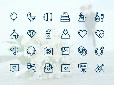 Outline Wedding Icons weddings icons outline icons wedding icons outline wedding icons heart church balloon cake champagne camera diamond