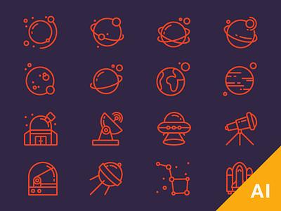 Free Space Icons freebie galaxy universe planets free space icons cosmos space free outline icons free vectors free icons outline icons icons