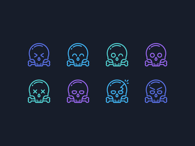 Scull Emoticons crack dead happy surprised angry wink bones skull emoticon emotion outline icons icons