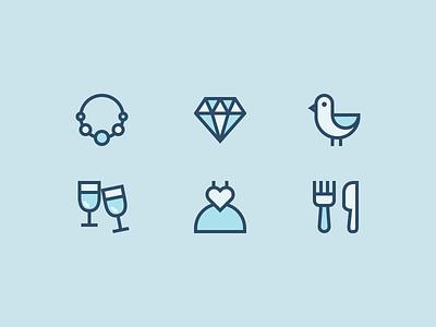 Frosty Weddings!  iconutopia fork knife food dress champagne bird diamond icon icons outline icons weddings