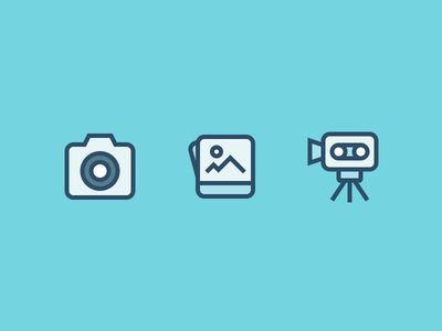 Media icons picture footage iconutopia weddings image video photo camera media illustration outline icons icons