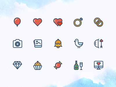 Wedding Icons iconutopia bell diamond love rings marriage celebration colour icons wedding icons wedding outline icons icons
