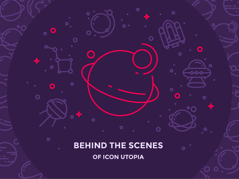 Behind the Scenes of Icon Utopia galaxy pattern illustration outline icon blog stars satellite ufo space ship icon utopia planet