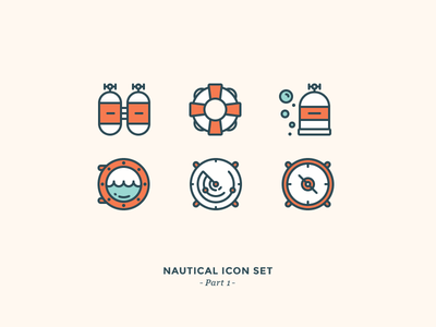 Nautical Icon Set diving water ocean sea bubbles air tanks lifebuoy compass navigation outline icons nautical