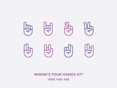 Where's Your Hands At?! sign pointing up fingers crossed rock peace outline icon icons gestures hand