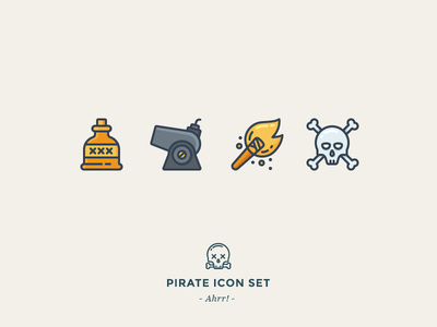 Pirate Icon Set sea fire dead bones skull torch cannon rum pirate icon outline icons