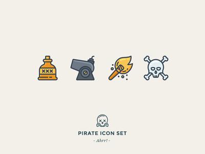Pirate Icon Set sea fire dead bones skull torch cannon rum pirate icon outline icons