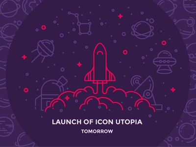 Icon Utopia is Launching Tomorrow! illustration lift off ufo planet satelite space shuttle rocket launch iconutopia outline icon