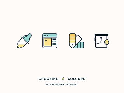 Choosing best colours for your icons drop pastel colouring paint bucket palette picker colour colours pipette outline icons