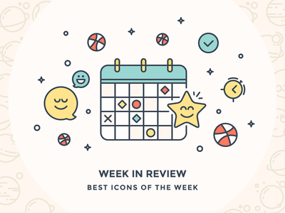 Best icon of the week! conffeti best icons emoticons ball alarm star smile calendar illustration icon outline icons