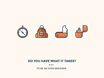 Do you have what it takes? survival iconutopia outline icon blog wilderness woods camping compass lighter knife backpack
