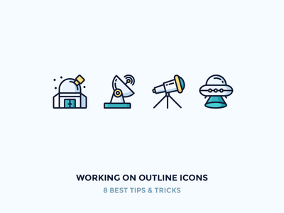 The proper way of creating outline icons vectorising iconutopia blog tutorial exploration observatory aliens ufo telescope space outline icons