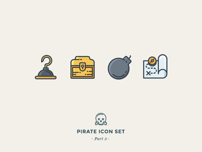 Caribbean Pirates skull tnt gold map dynamite bomb treasure chest hook outline icons pirates