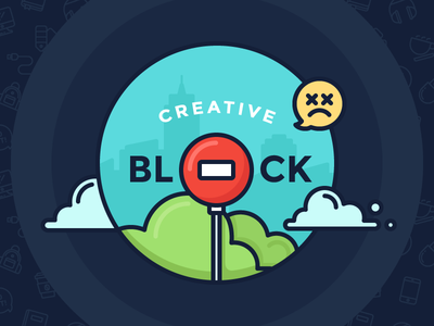 Overcome Creative Block overcome dead illustration outline icons blog clouds city sign stop block creative