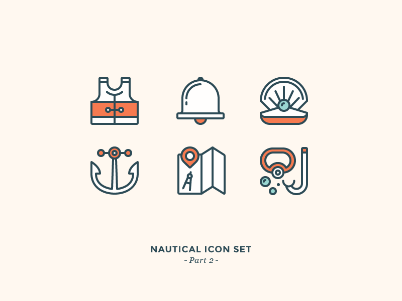Nautical Icon Set snorkeling diving navigation map anchor perl bell west life nautical sea icons