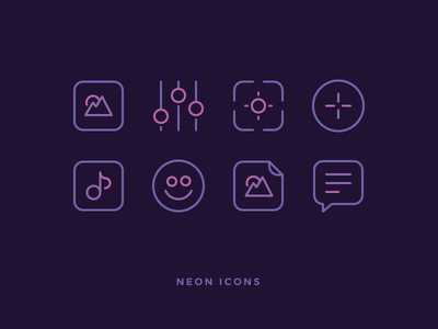Neon Icons! target equaliser chat image picture note smile signs neon icons icon outline