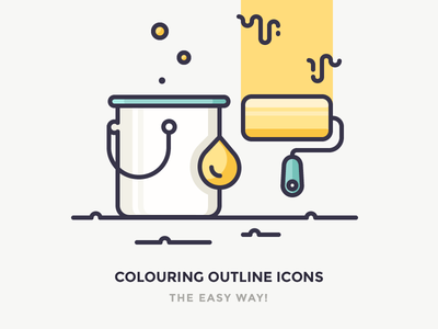 Easy Way To Colour Your Outline Icons construction wall drop dripping roller bucket paint illustration icons colouring colour color