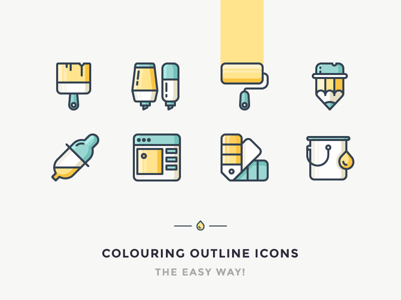 Easy Way To Colour Your Outline Icons roller picker can pipette pencil brush marker colour paint icon outline icons