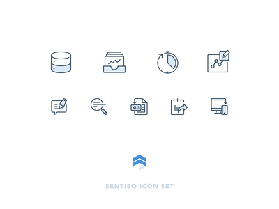 Sentieo Icons icon set financial model comment search responsive export excel realtime equities database outline icons