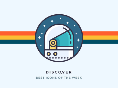 Discover best icons of the week! illustration cosmos galaxy shiny astronaut suit space suit rainbow stars helmet discover space