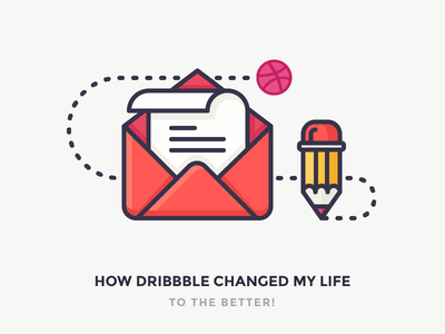 My Open Letter to Dribbble paper email ball draw write icon outline illustration pencil dribbble newsletter letter
