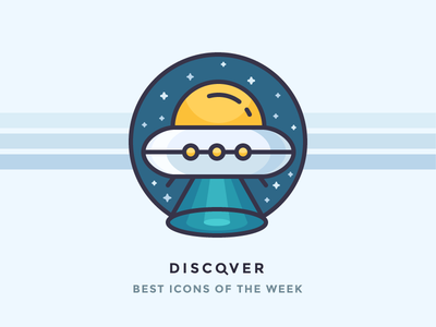 Best icons of the week! x files capture flying beam spaceship space aliens stars ufo illustration outline icon