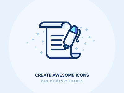 Basic Shapes scroll icon sign documents illustration write vector outline magic paper letter pen