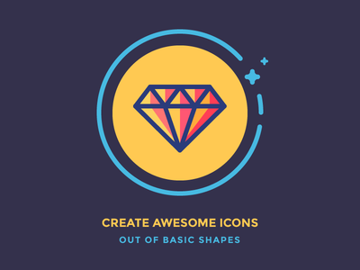 Create Icons out of Basic Shapes iconutopia rock jewel gem shiny circle bling icon illustration vector outline diamond