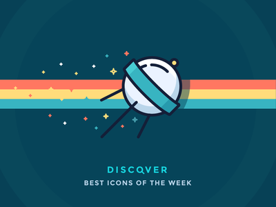 Best icons of the week! spacecraft iconutopia confetti stars discovery space illustration outline icon satellite sputnik