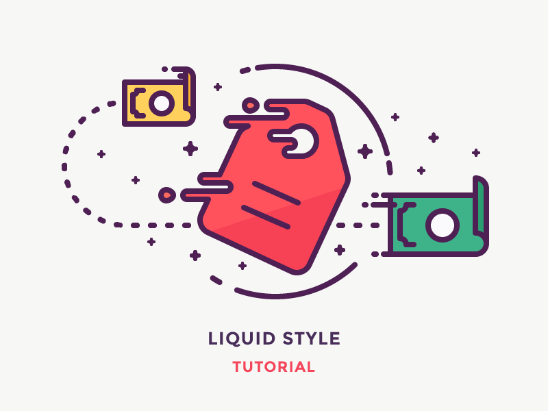 Liquid Style Tutorial spend speed illustration outline icon liquid fast cash money tag price checkout