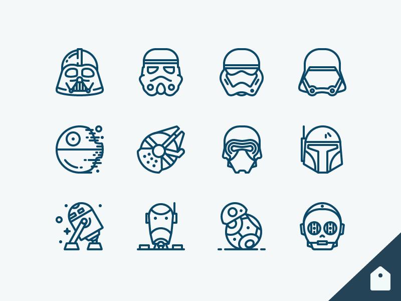 Star Wars Icons Freebie storm trooper boba fett millennium falcon r2d2 c3po bb8 droid kylo darth vader outline icons star wars